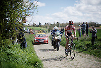 Jelle Wallays (BEL/Lotto-Soudal) tries to make the jump to the leading group on sector 21: Quérénaing to Maing (2.5km)<br /> <br /> 114th Paris-Roubaix 2016