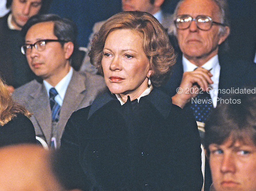 First lady Rosalynn Carter looks on as United States President Jimmy Carter (not pictured) holds a press conference at the White House in Washington, DC on February 13, 1980.<br />