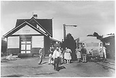 RGS Goose #4 beside Dolores depot with passengers standing about.<br /> RGS  Dolores, CO  7/13/1947