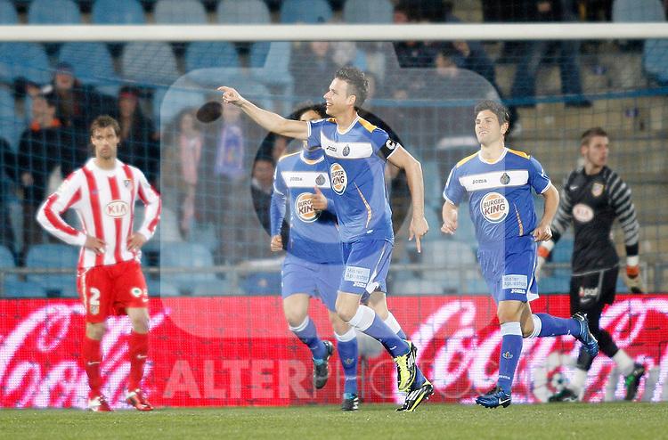 Getafe's Manu del Moral celebrates during La Liga Match. March 02, 2011. (ALTERPHOTOS/Alvaro Hernandez)