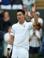 Kei Nishikori (JPN) celebrates after winning his match against Mikhail Kukushkin (KAZ) in their Gentleman's Singles Fourth Round match<br /> <br /> Photographer Rob Newell/CameraSport<br /> <br /> Wimbledon Lawn Tennis Championships - Day 7 - Monday 8th July 2019 -  All England Lawn Tennis and Croquet Club - Wimbledon - London - England<br /> <br /> World Copyright © 2019 CameraSport. All rights reserved. 43 Linden Ave. Countesthorpe. Leicester. England. LE8 5PG - Tel: +44 (0) 116 277 4147 - admin@camerasport.com - www.camerasport.com