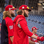 6 October 2017: Washington Nationals outfielders Jayson Werth and Bryce Harper await their respective turns in the batting cage during batting practice, prior to facing the Chicago Cubs in Game 1 of the NLDS at Nationals Park in Washington, DC. The Cubs shut out the Nationals 3-0 to take a 1-0 lead in their best of five Postseason series. Mandatory Credit: Ed Wolfstein Photo *** RAW (NEF) Image File Available ***