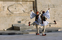 02 NOV 2003 - ATHENS, GREECE - Evzones parade in front of the Tomb of the Unknown Soldier. (PHOTO (C) NIGEL FARROW)