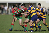 J. Kennedy turns to set up a mall as R. Taupo arrives in support. Counties Manukau Premier Club Rugby, Waiuku vs Patumahoe played at Rugby Park, Waiuku on the 8th of April 2006. Waiuku won 18 - 15