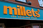 Millets the Outdoors Store shop front sign, Ipswich, Suffolk, England