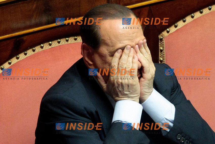 Silvio Berlusconi<br /> Roma 19/07/2013 Senato. Mozione di sfiducia nei confronti del Ministro dell'Interno per il caso Ablyazov<br /> Photo Samantha Zucchi Insidefoto