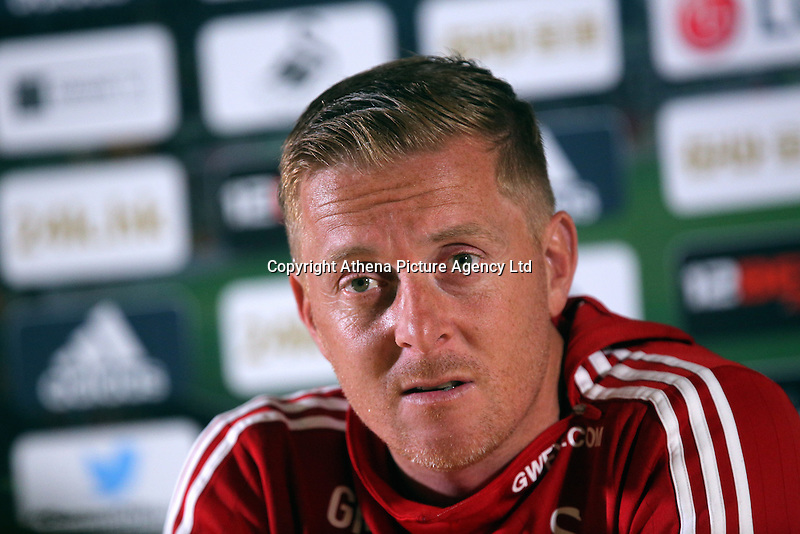 Pictured: Garry Monk. Thursday 17 September 2015<br />Re: Swansea manager Garry Monk gives a press conference ahead of his team's game against Everton, at the Liberty Stadium, Swansea, UK