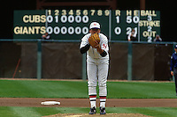 SAN FRANCISCO, CA - John Burkett of the San Francisco Giants pitches on Turn Back the Clock Day during a game at Candlestick Park in San Francisco, California in 1991. Photo by Brad Mangin