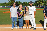 5 May 2012:  FIU pitcher R.J. Fondon (19) poses with family members during the Senior Day Ceremony prior to the game.  The FIU Golden Panthers defeated the Middle Tennessee State University Blue Raiders, 12-6, at University Park Stadium in Miami, Florida.