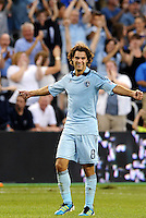 Graham Zusi (8) midfielder Sporting KC celebrates his goal... Sporting Kansas City defeated Portland Timbers 3-1 at LIVESTRONG Sporting Park, Kansas City, Kansas.