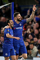 Pedro celebrates scoring Chelsea's opening goal with Olivier Giroud during Chelsea vs Dynamo Kiev, UEFA Europa League Football at Stamford Bridge on 7th March 2019