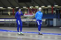 SCHAATSEN: HEERENVEEN: 19-06-2014, IJsstadion Thialf, Zomerijs training, Thisje Oenema, Nao Kodaira (JAP) Team Continu, ©foto Martin de Jong