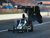 Sep 2, 2017; Clermont, IN, USA; NHRA top fuel driver Ike Maier during qualifying for the US Nationals at Lucas Oil Raceway. Mandatory Credit: Mark J. Rebilas-USA TODAY Sports
