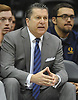 Tom Pecora, Associate Head Coach for Quinnipiac University Men's Basketball, observes the action on the court during an MAAC game against Fairfield University at Nassau Coliseum on Saturday, Jan. 27, 2018.