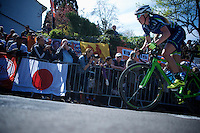 Jessie Walker (GBR/Matrix) up the infamous Mur de Huy (1300m/9.8%)<br /> <br /> Fl&egrave;che Wallonne F&eacute;minine 2015