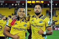 Ngani Laumape and Matt Proctor after the Super Rugby match between the Hurricanes and Crusaders at Westpac Stadium in Wellington, New Zealand on Saturday, 10 March 2018. Photo: Dave Lintott / lintottphoto.co.nz