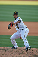 Luis Pena (6) of the Salt Lake Bees delivers a pitch to the plate against the Albuquerque Isotopes at Smith's Ballpark on April 27, 2019 in Salt Lake City, Utah. The Isotopes defeated the Bees 10-7. This was a makeup game from April 26, 2019 that was cancelled due to rain. (Stephen Smith/Four Seam Images)