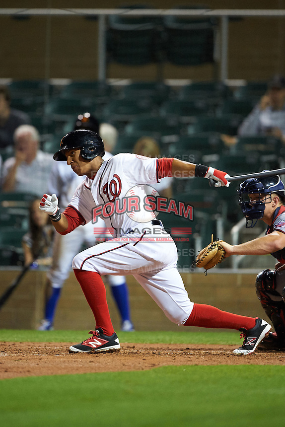 Salt River Rafters second baseman Chris Bostick (1) at bat during an Arizona Fall League game against the Scottsdale Scorpions on October 13, 2015 at Salt River Fields at Talking Stick in Scottsdale, Arizona.  Salt River defeated Scottsdale 5-3.  (Mike Janes/Four Seam Images)