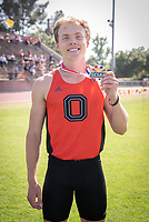 Eric Looby '21 3rd place in the long jump<br /> The Occidental College men's and women's track and field teams compete in the 2019 Southern California Intercollegiate Athletic Conference (SCIAC) Track and Field Championships at the Claremont-Mudd-Scripps Burns Track Complex in Claremont, Calif. on Saturday, April 27, 2019.<br /> After the two-day SCIAC Championships CMS scored 211.50 points, followed by Pomona-Pitzer (171.50), Redlands (114), Occidental (92.50), Whittier (57.50), La Verne (54), Cal Lutheran (48), Chapman (23) and Caltech (4). <br /> <br /> (Photo by Eddie Ruvalcaba, Image of Sport)