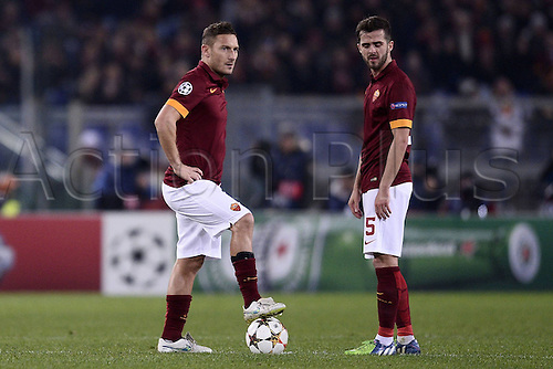 10.12.2014. Rome, Italy. UEFA Champions League Group E match between AS Roma 0-2 Manchester City at Stadio Olimpico in Rome Francesco Totti and Miralem Pjanic  wait tpo restart the gae