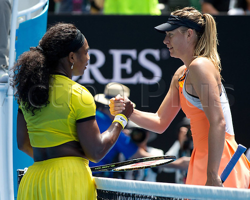 26.01.2016. Melbourne Park, Melbourne, Australia. Australian Open Tennis Championships. Action from the quarter final match between Maria Sharapova and Serena Williams. Williams winning the match (6-4) (6-1).