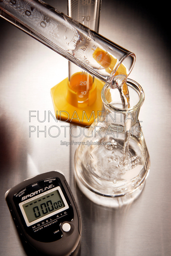 RATE OF REACTION: ANALOGY<br /> (1 of 5)<br /> 0.0 Seconds - Mixing Clear Solutions<br /> 100 mL of a clear solution is added to 100 mL of another clear solution.