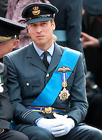 Prince William watches a flypast and march at the National Commemorative Service for the 70th anniversary of Battle of Britain in Westminster Abbey.