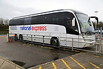 National Express Coach bus service at bus station, Stansted airport, Essex, England, UK