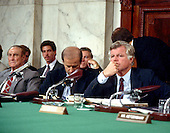 "Washington, DC - (FILE) -- United States Senators listen to the opening statement of Judge Robert Bork (not pictured) before the U.S. Senate Judiciary Committee on his nomination as Associate Justice of the U.S. Supreme Court in Washington, D.C. on September 15, 1987,  From left to right: U.S. Senator Strom Thurmond (Republican of South Carolina), Ranking Member; U.S. Senator Joseph Biden (Democrat of Delaware), Chairman; and U.S. Senator Edward M. ""Ted"" Kennedy (Democrat of Massachusetts) .Credit: Arnie Sachs / CNP"