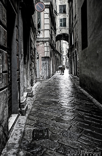 A wet day in the alleyways of Genoa in Italy