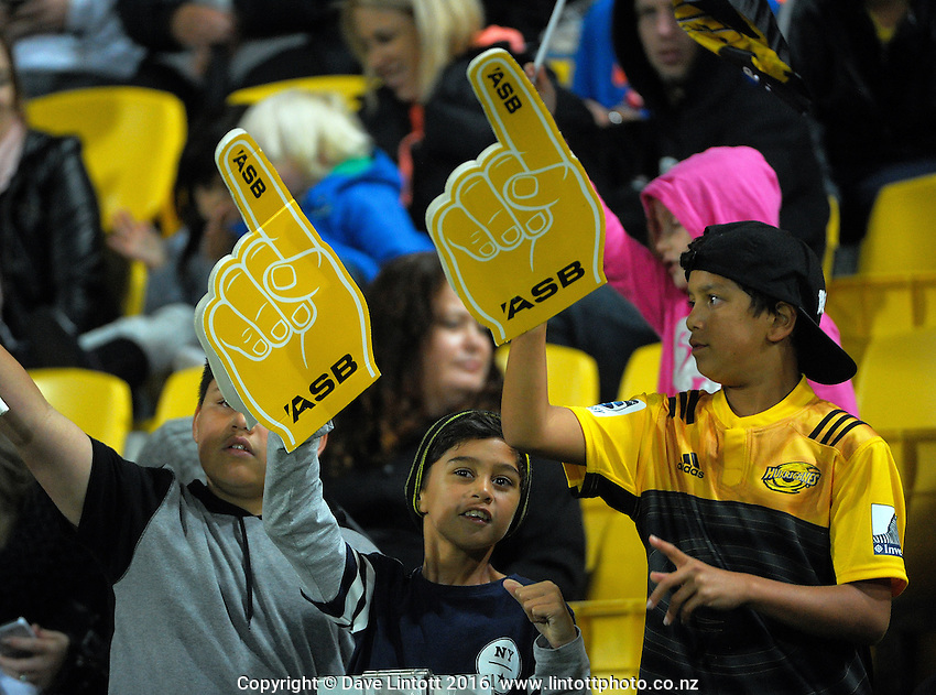 Fans in the grandstand during the Super Rugby match between the Hurricanes and Southern Kings at Westpac Stadium, Wellington, New Zealand on Friday, 25 March 2016. Photo: Dave Lintott / lintottphoto.co.nz