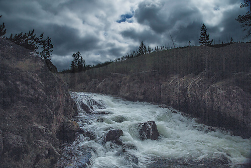 The Firehole River roars through Firehole Canyon at Yellowstone National Park, Wyoming