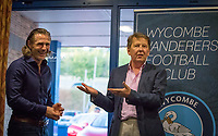 Wycombe Wanderers manager Gareth Ainsworth & Bill Turnbull during the Sky Bet League 1 match between Wycombe Wanderers and Accrington Stanley at Adams Park, High Wycombe, England on 17 September 2019. Photo by Andy Rowland.