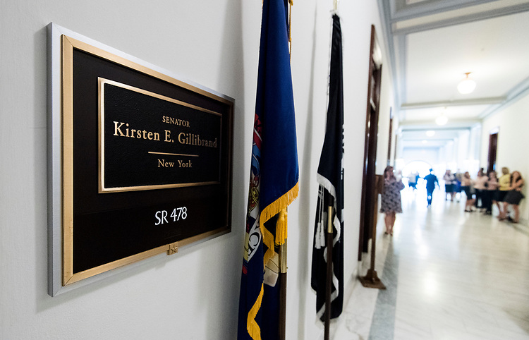 UNITED STATES - JULY 11: A crowd of Hill staffers and interns stand outside of Sen. Kirsten Gillibrand's office due to a rumor of a visit by pop music star Taylor Swift on Wednesday, July 11, 2018. (Photo By Bill Clark/CQ Roll Call)