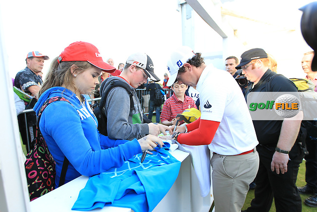 Rory McIlroy (NIR) signing autographs after round 1 of the Irish Open at Royal Portrush GC,Portrush,County Antrim,Ireland. 28/6/12.Picture Fran Caffrey www.newsfile.ie