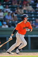 Catcher Matt Pare (28) of the Augusta GreenJackets bats in a game against the Greenville Drive on Sunday, June 12, 2016, at Fluor Field at the West End in Greenville, South Carolina. Greenville won, 11-8. (Tom Priddy/Four Seam Images)