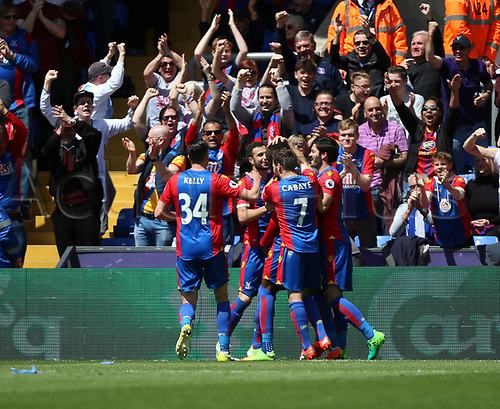 May 14th 2017, Selhurst Park, London, England; EPL Premier League football, Crystal Palace versus Hull Tigers; Christian Benteke of Crystal Palace celebrates goal with his team mates