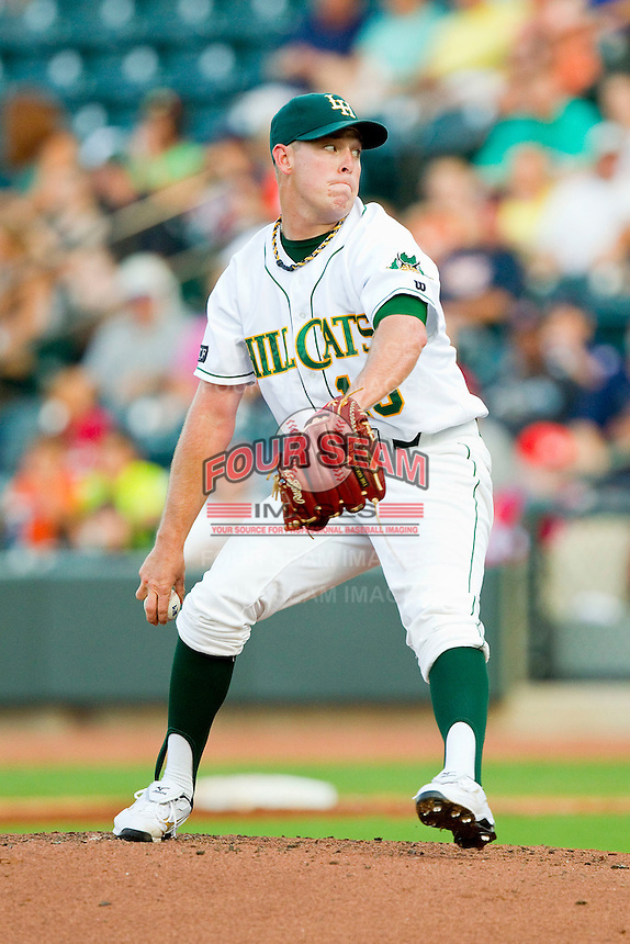Carolina League All-Star pitcher J.R. Graham #13 of the Lynchburg Hillcats in action against the California League All-Stars during the 2012 California-Carolina League All-Star Game at BB&T Ballpark on June 19, 2012 in Winston-Salem, North Carolina.  The Carolina League defeated the California League 9-1.  (Brian Westerholt/Four Seam Images)
