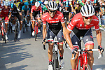 Koen de Kort (NED) and Alberto Contador (ESP) Trek-Segafredo climb during Stage 19 of the 2017 La Vuelta, running 149.7km from Caso. Parque Natural de Redes to Gij&oacute;n, Spain. 8th September 2017.<br /> Picture: Unipublic/&copy;photogomezsport | Cyclefile<br /> <br /> <br /> All photos usage must carry mandatory copyright credit (&copy; Cyclefile | Unipublic/&copy;photogomezsport)