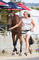 AUS-Christine Bates (KUNG FU PANDA GP) CCI2* FIRST HORSE INSPECTION: 2014 AUS-Australia's International 3 Day Event (Wednesday 12 November) CREDIT: Libby Law COPYRIGHT: LIBBY LAW PHOTOGRAPHY