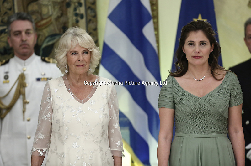 Pictured L-R:The Duchess of Cornwall and the Prime Minister's wife Betty (Peristera) Baziana during the official state dinner at the Presidential Mansion in Athens, Greece. Wednesday 09 May 2018 <br /> Re: Official visit of HRH Prnce Charles and his wife the Duchess of Cornwall to Athens, Greece.
