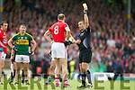 Alan O'Connor Cork gets a yellow card in the Munster Final at Fitzgerald Stadium, Killarney on Saturday evening.