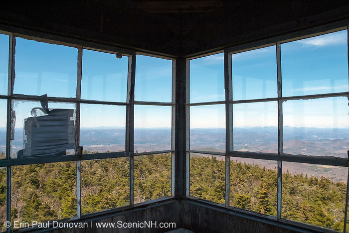 Old Fire Tower next to Smarts Mountain cabin along the Appalachian Trail (Lambert Ridge Trail) on Smarts Mountain in Lyme, New Hampshire. Built in 1915, the tower is 41 feet.