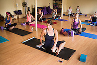 Owner of Edible Events Jane West (cq) during a yoga class in Denver, Colorado, Sunday, July 20, 2014. <br /> <br /> Photo by Matt Nager