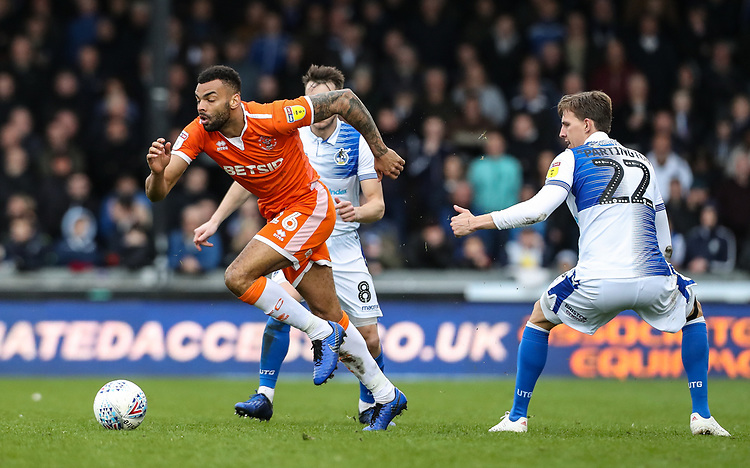 Blackpool's Curtis Tilt breaks away from Bristol Rovers' Joe Partington <br /> <br /> Photographer Andrew Kearns/CameraSport<br /> <br /> The EFL Sky Bet League Two - Bristol Rovers v Blackpool - Saturday 2nd March 2019 - Memorial Stadium - Bristol<br /> <br /> World Copyright © 2019 CameraSport. All rights reserved. 43 Linden Ave. Countesthorpe. Leicester. England. LE8 5PG - Tel: +44 (0) 116 277 4147 - admin@camerasport.com - www.camerasport.com