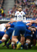 Elliot Daly of England watches a scrum. Natwest 6 Nations match between France and England on March 10, 2018 at the Stade de France in Paris, France. Photo by: Patrick Khachfe / Onside Images