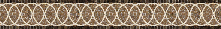 "5 7/16"" Satori border, a hand-cut mosaic shown in polished Travertine Noce, Emperador Dark, and Travertine White by New Ravenna."