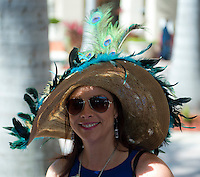 HALLANDALE BEACH, FL - JAN 28: A fan dresses in style and shows off a fashionable hat during Pegasus World Cup Invitational Day at Gulfstream Park Race Course on January 28, 2017 in Hallandale Beach, Florida. (Photo by Doug DeFelice/Eclipse Sportswire/Getty Images)