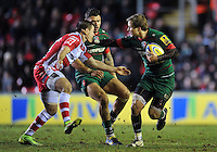 Matthew Tait of Leicester Tigers in possession. Aviva Premiership match, between Leicester Tigers and Gloucester Rugby on February 13, 2015 at Welford Road in Leicester, England. Photo by: Patrick Khachfe / JMP