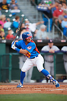 Buffalo Bisons designated hitter Christian Lopes (11) at bat during a game against the Gwinnett Braves on August 19, 2017 at Coca-Cola Field in Buffalo, New York.  The Bisons wore special Superhero jerseys for Superhero Night.  Gwinnett defeated Buffalo 1-0.  (Mike Janes/Four Seam Images)